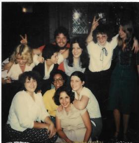Divorce party - Mom with Marlene (bottom) Darlene, Valerie, Mria, Kathie, Linda, Ginger, and Dave